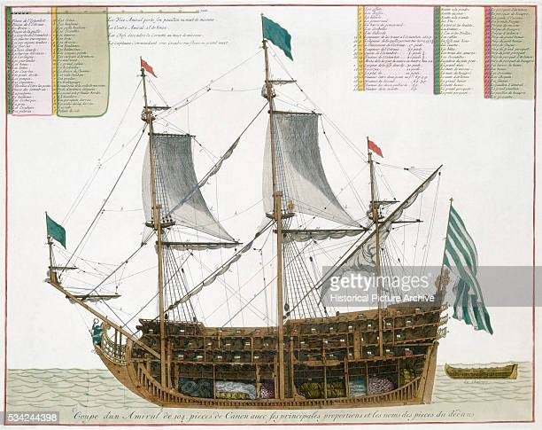 Color Print of Ship Plan and Rigging for a Carrack