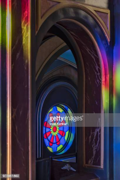 Color spots produced by stained glass window, at the Bulgarian church of Istanbul, Turkey
