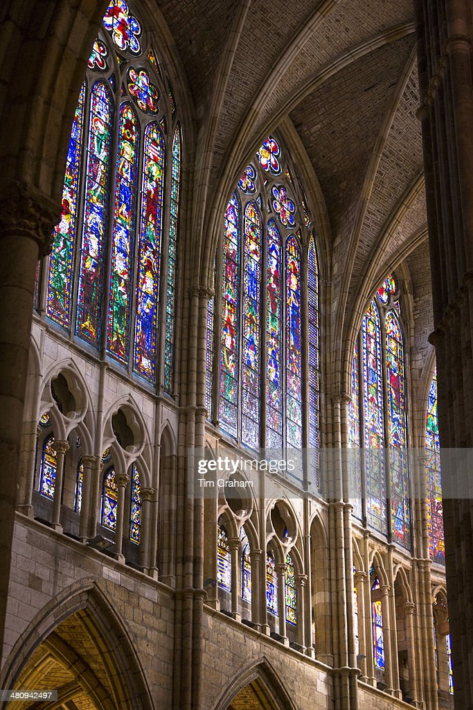 Color Stained Glass Window Leon Cathedral Spain Stock