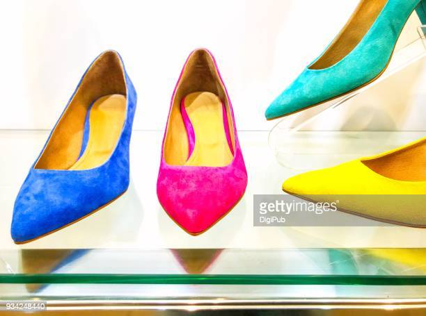 color variations of women's suede shoes - suede shoe stock pictures, royalty-free photos & images