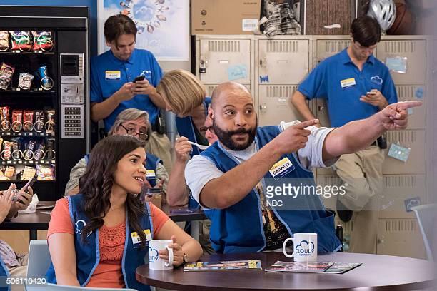 SUPERSTORE 'Color Wars' Episode 107 Pictured America Ferrera as Amy Colton Dunn as Garrett