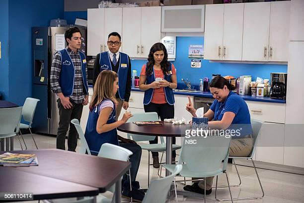 SUPERSTORE 'Color Wars' Episode 107 Pictured Ben Feldman as Jonah Nichole Bloom as Cheyenne Nico Santos as Mateo America Ferrera as Amy Lauren Ash as...