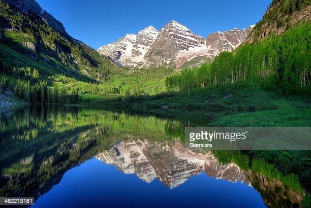 usa, colorado, aspen, maroon bells in morning - maroon bells stock photos and pictures