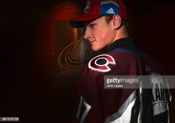 Colorado Avalanche 1st pick first round 2017 NHL draft pick Cale Makar poses for a portrait on June 26 2017 in Denver Colorado at Pepsi Center The...