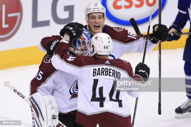 TORONTO ON JANUARY 22 Colorado Avalanche and ex Maple Leaf Jonathan Bernier celebrates the win against his old team with mates after the last buzzer...