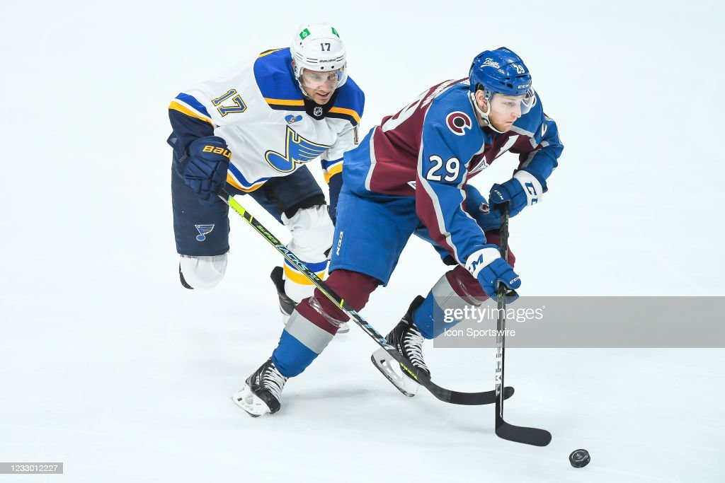 NHL: MAY 17 Stanley Cup Playoffs First Round - Blues at Avalanche : News Photo
