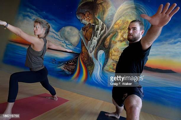 Colorado Avalanche Center Ryan O'Reilly and his girlfriend Dayna Douros practice Ashtanga Vinyasa yoga at the Samadhi Center for Yoga in Denver CO...