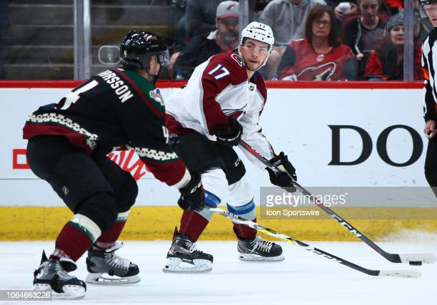 Colorado Avalanche center Tyson Jost looks for a passing lane during the NHL hockey game between the Arizona Coyotes and the Colorado Avalanche on...