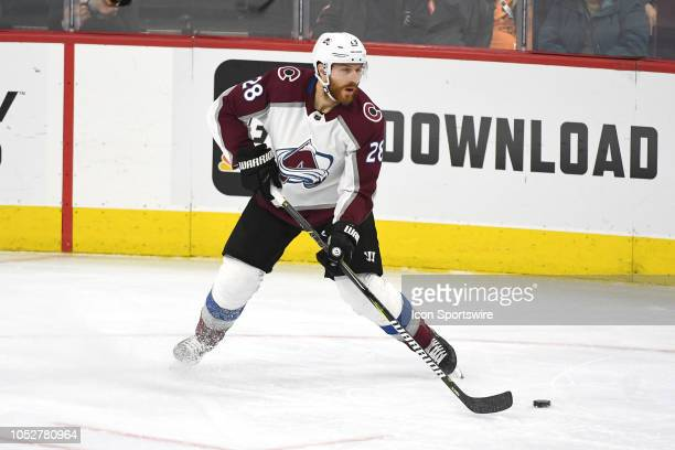 Colorado Avalanche Defenceman Ian Cole looks to pass during the regular season game between the Colorado Avalanche and the Philadelphia Flyers on...