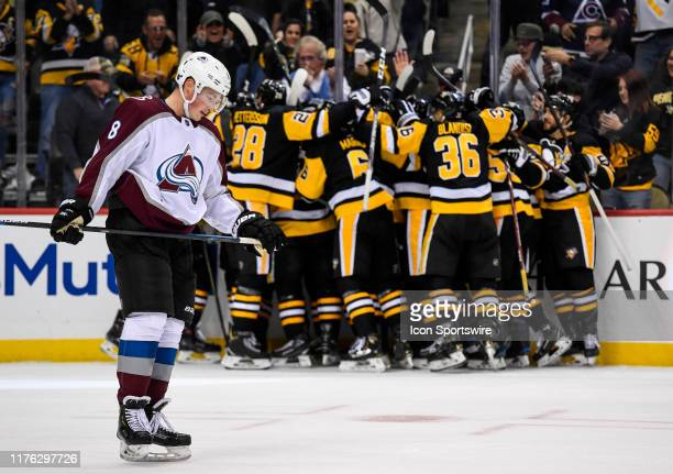 Colorado Avalanche Defenseman Cale Makar skates off the ice as the Pittsburgh Penguins celebrates the game winning goal by Right Wing Brandon Tanev...