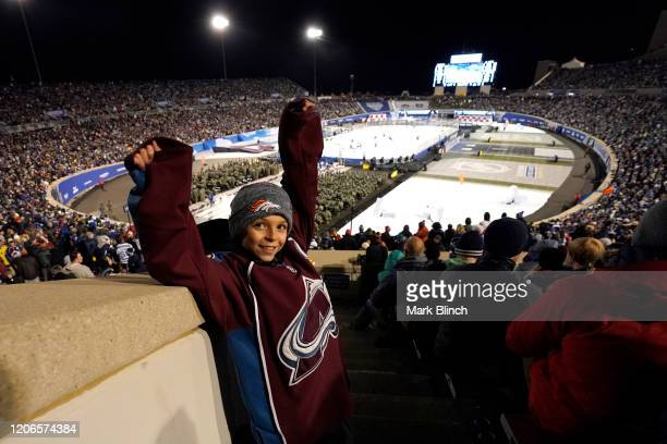 Colorado Avalanche fan cheers on during the 2020 NHL Stadium Series game between the Los Angeles Kings and the Colorado Avalanche at Falcon Stadium...