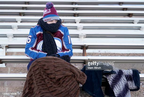 Colorado Avalanche fan looks on their seat prior to the 2020 NHL Stadium Series game between the Los Angeles Kings and the Colorado Avalanche at...