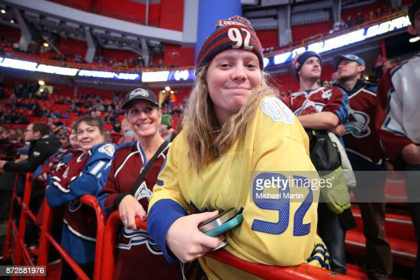 Colorado Avalanche fan watches warm ups prior to the game against the Ottawa Senators at the Ericsson Globe on November 10 2017 in Stockholm Sweden