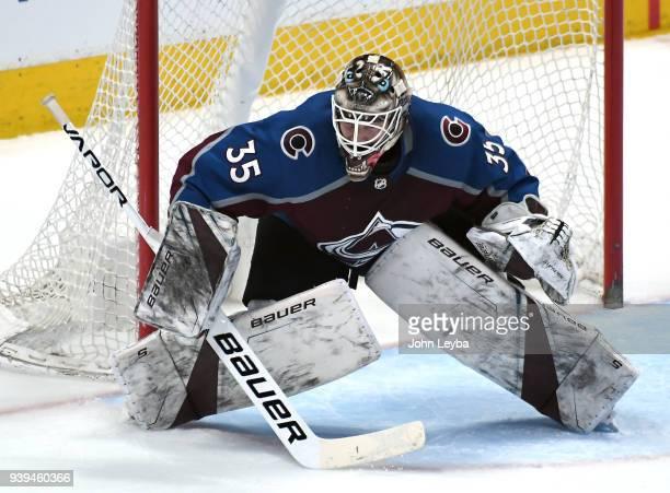 Colorado Avalanche goaltender Andrew Hammond in goal against the Philadelphia Flyers on March 28 2018 at Pepsi Center in Denver Colorado
