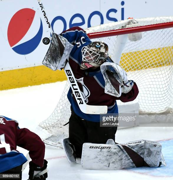 Colorado Avalanche goaltender Andrew Hammond makes a save against the Philadelphis Flyers during the second period on March 28 2018 at Pepsi Center...