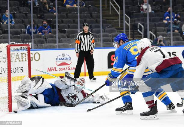 Colorado Avalanche goaltender Devan Dubynk blocks a shot on goal by St. Louis Blues right wing Vladimir Tarasenko during a NHL game between the...