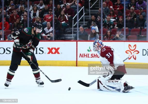 Colorado Avalanche goaltender Philipp Grubauer blocks a shot during the NHL hockey game between the Arizona Coyotes and the Colorado Avalanche on...