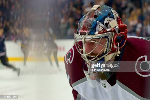 Colorado Avalanche goaltender Philipp Grubauer looks on during a timeout in the third period of a game between the Columbus Blue Jackets and the...