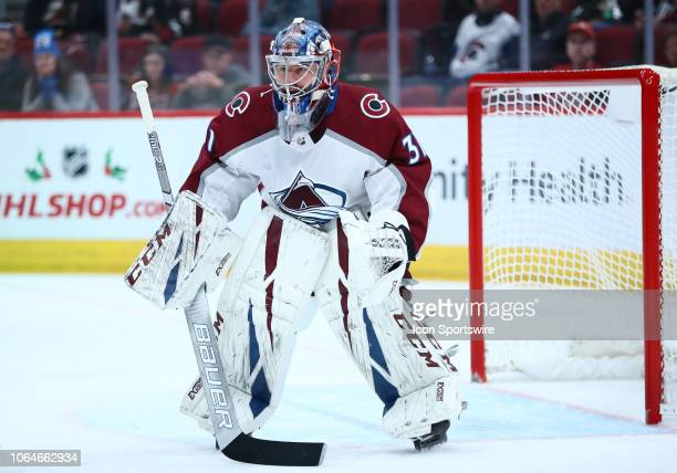 Colorado Avalanche goaltender Philipp Grubauer plays goalie during the NHL hockey game between the Arizona Coyotes and the Colorado Avalanche on...