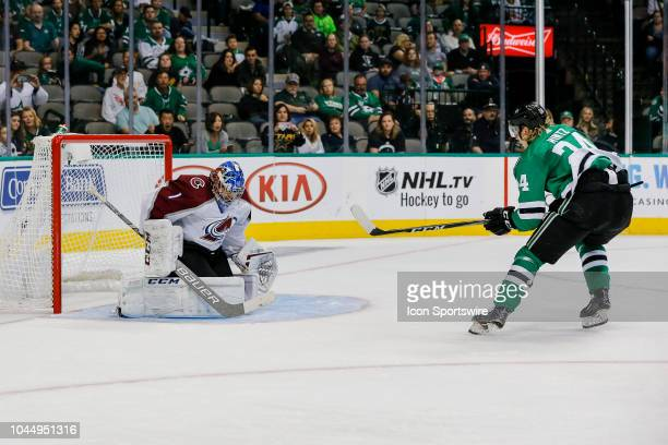 Colorado Avalanche goaltender Semyon Varlamov blocks a shot from Dallas Stars center Roope Hintz during the game between the Dallas Stars and the...