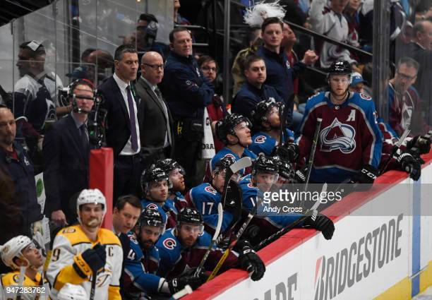 Colorado Avalanche head coach Jared Bednar and his team on the bench during the game against the Nashville Predators in the second period during the...