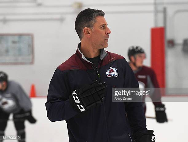 Colorado Avalanche head coach Jared Bednar during practice at the Family Sports Center October 14 2016