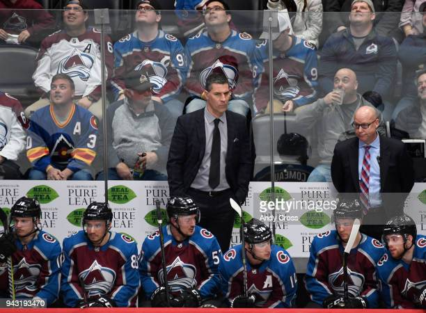 Colorado Avalanche head coach Jared Bednar left on the bench during the game against the St Louis Blues at the Pepsi April 07 2018 The Av's won 52 to...