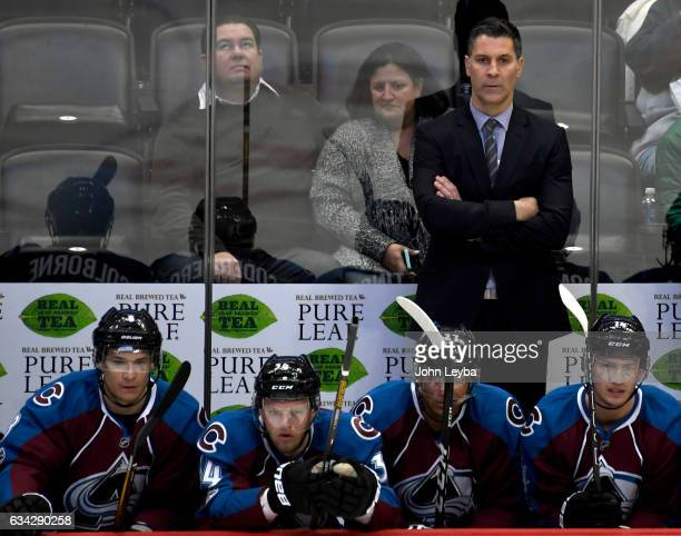 Colorado Avalanche head coach Jared Bednar looks on during the second period against the Montreal Canadiens February 7 2017 at Pepsi Center