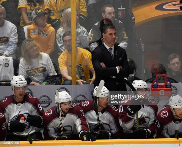 Colorado Avalanche head coach Jared Bednar on the bench during the game against the Nashville Predators for the second game of round one of the...