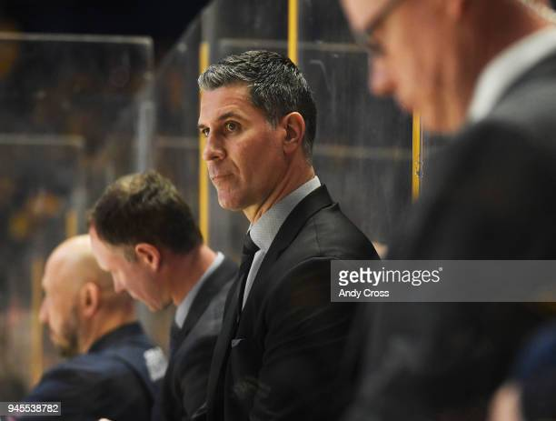 Colorado Avalanche head coach Jared Bednar on the bench in the second period against the Nashville Predators during the first game of round one of...