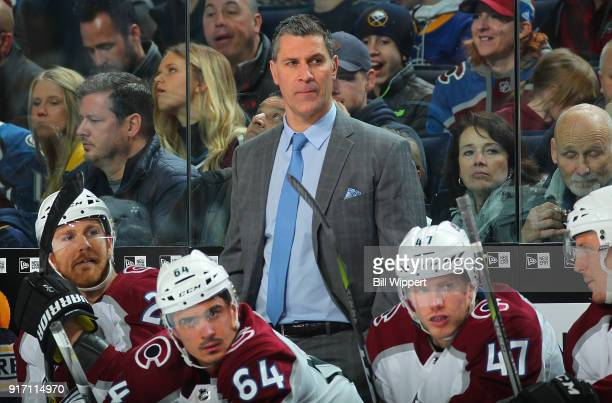 Colorado Avalanche head coach Jared Bednar watches play against the Buffalo Sabres during an NHL game on February 11 2018 at KeyBank Center in...
