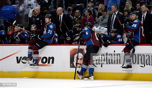 Colorado Avalanche left wing Cody McLeod Colorado Avalanche defenseman Erik Johnson and Colorado Avalanche center Paul Stastny on the boards at the...