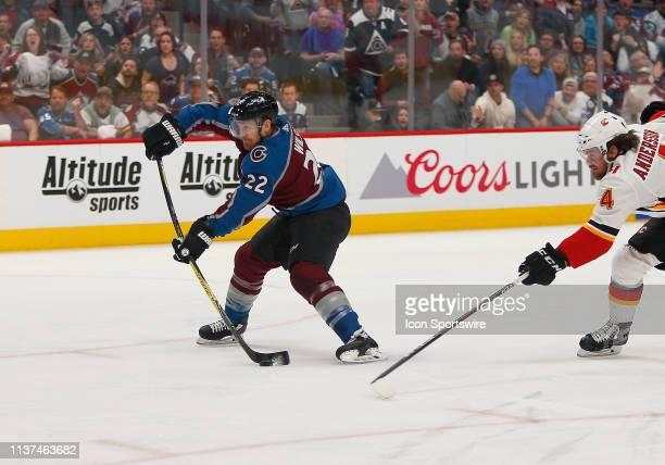 Colorado Avalanche left wing Colin Wilson takes a shot on a breakaway during a Western Conference matchup in the first round of the Stanley Cup...