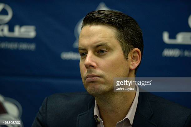 Colorado Avalanche President and Governor of the Colorado Avalanche Josh Kroenke meet stye media during a press conference October 7 2014 at Family...