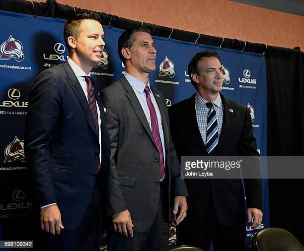 Colorado Avalanche President Josh Kroenke new head coach Jared Bednar and Executive VP/General Manger Joe Sakic pose for photos August 31 2016 Pepsi...