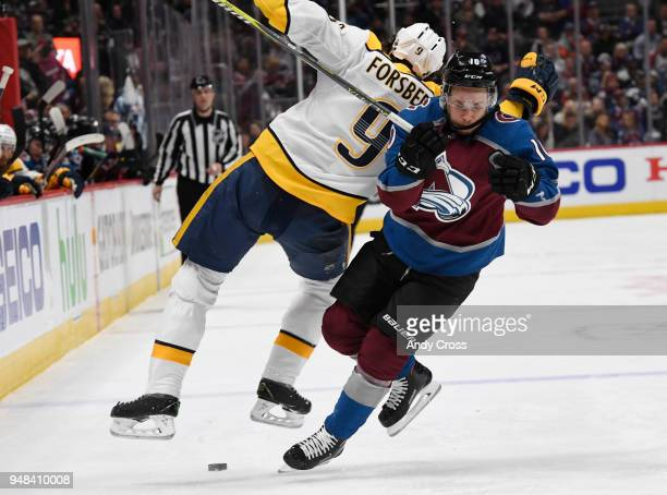 Colorado Avalanche right wing Sven Andrighetto and Nashville Predators left wing Filip Forsberg collide in the third period during the fourth game of...