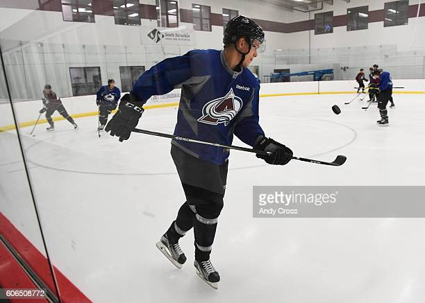 Colorado Avalanche RW Mikko Rantanen flips the puck while skating during rookie camp at the Family Sports Center September 15 2016