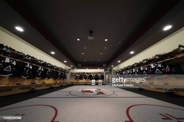 Colorado Avalanche third jerseys hang in their lockers prior to the game against the Nashville Predators at the Pepsi Center on November 7 2018 in...