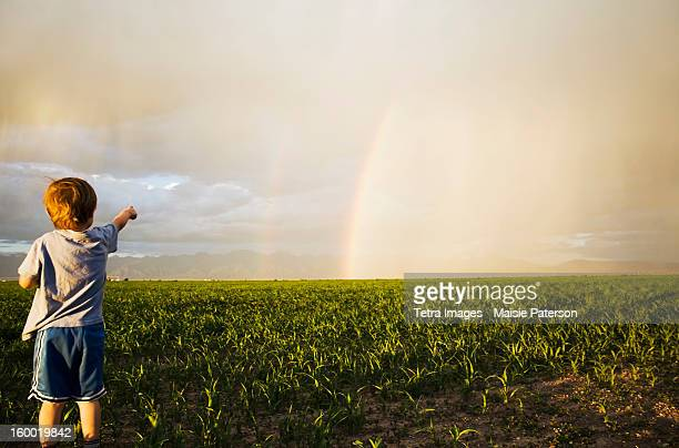 USA, Colorado, Boy (2-3) in field pointing at rainbow