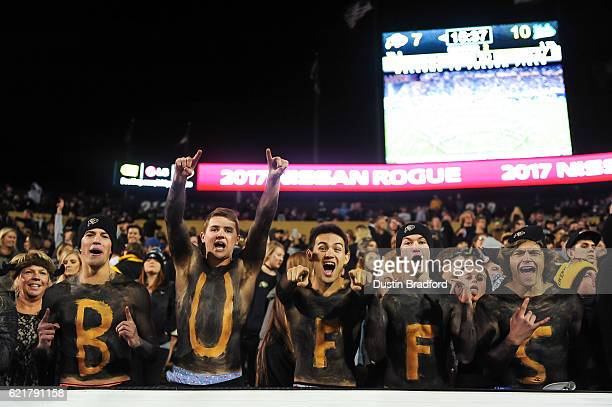 Colorado Buffaloes fans cheer as they wear body paint during a game between the Colorado Buffaloes and the UCLA Bruins at Folsom Field on November 3...