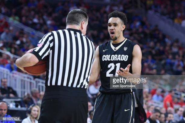 Colorado Buffaloes guard Derrick White can't believe a call late in the game during the quarterfinal game of the Pac12 Tournament between the Arizona...