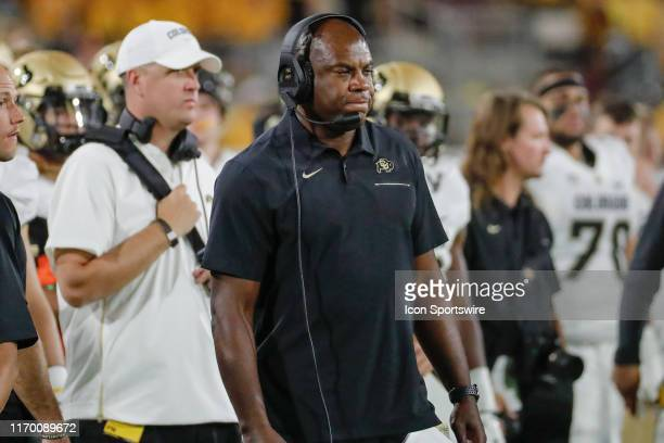 Colorado Buffaloes head coach Mel Tucker looks on during the college football game between the Colorado Buffaloes and the Arizona State Sun Devils on...