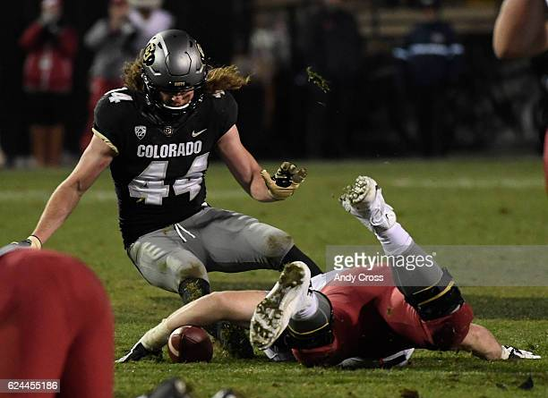 Colorado Buffaloes linebacker Addison Gillam eyes the football and eventually recovers a fumble in fourth quarter from Washington State Cougars...