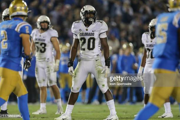 Colorado Buffaloes linebacker Davion Taylor at the line during the college football game between the Colorado Buffaloes and UCLA Bruins on November...