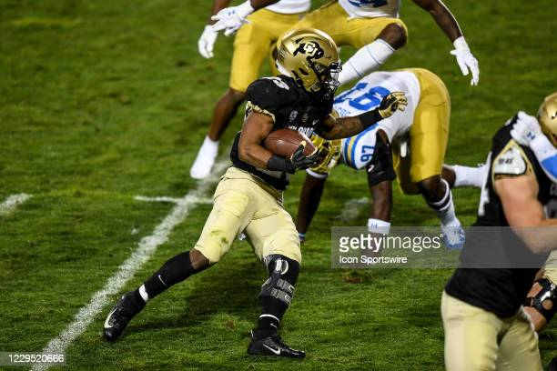 Colorado Buffaloes running back Jarek Broussard rushes against the UCLA Bruins during a PAC 12 conference game between the Colorado Buffaloes and the...