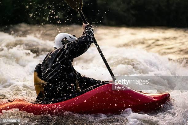 USA, Colorado, Clear Creek, Close-up shot of man kayaking in white water