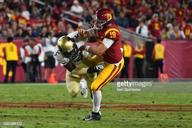 Colorado Davion Taylor hits USC JT Daniels during the second quarter of a college football game between the Colorado Buffaloes and the USC Trojans on...