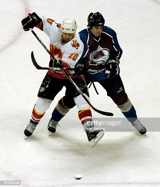 Colorado defenseman Jeff Finger right went shoulder to shoulder with Calgary winger Tony Amonte as the Avs killed a thirdperiod penalty It was the...