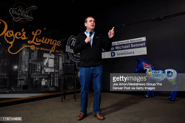 Colorado Democratic Senator Michael Bennet speaking to the Polk County Democrats at Doc's Lounge February 22 in Johnston Iowa