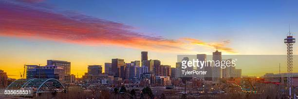 USA, Colorado, Denver, Downtown skyline at sunrise